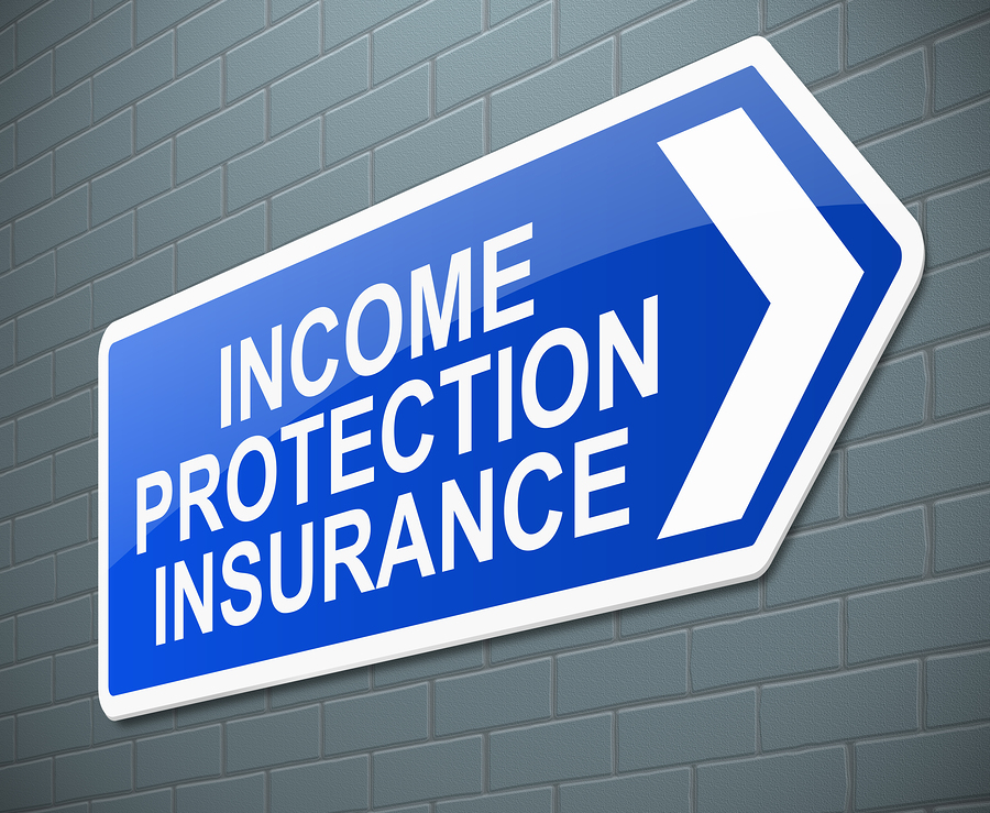 Illustration depicting a sign with an Income protection insurance concept.